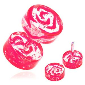 Akrylový fake piercing do ucha, průhledný, růžový potisk obrysu růže