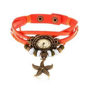 Analogové hodinky, ozdobně vyřezávané, zapletený řemínek oranžové barvy