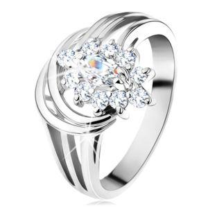Blýskavý prsten, rozvětvená ramena ve stříbrném odstínu, čirý zirkonový květ - Velikost: 50