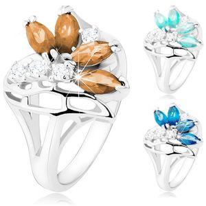 Blýskavý prsten s rozdělenými rameny, čiré a barevné zirkony, stuha - Velikost: 52, Barva: Hnědá