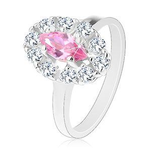 Blýskavý prsten s růžovým broušeným zrnkem, oválný lem z čirých zirkonků - Velikost: 53