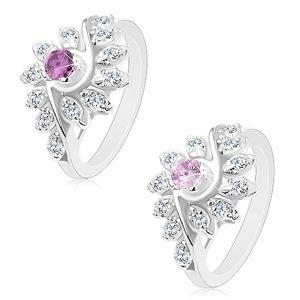 Blýskavý prsten se zatočenými rameny, broušené kulaté zirkony, barevný střed - Velikost: 54, Barva: Fialová