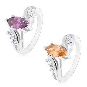 Blýskavý prsten stříbrné barvy, barevné broušené zrnko, zahnutá ramena - Velikost: 54, Barva: Oranžová