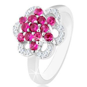 Blýskavý prsten, stříbro 925, lesklá ramena, květ z růžových a čirých zirkonů - Velikost: 54
