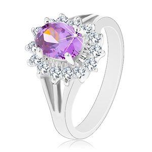 Blýskavý prsten ve stříbrné barvě, fialový ovál, průzračná zirkonová obruba - Velikost: 61