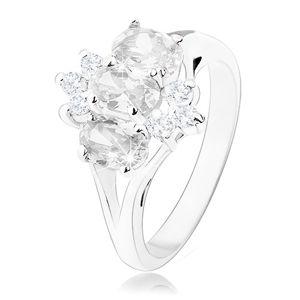 Blýskavý prsten ve stříbrném odstínu, oválné a kulaté zirkony čiré barvy - Velikost: 49