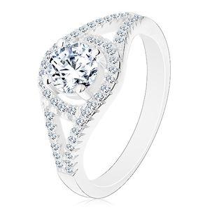 Blýskavý zásnubní prsten, stříbro 925, rozdvojená ramena, kruh se zirkonem - Velikost: 49