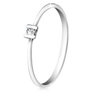 Briliantový prsten z bílého zlata 585 - třpytivý čirý diamant uchycený tyčinkami - Velikost: 56