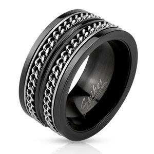 Černá ocelová obroučka, dva stříbrné řetízky - Velikost: 67