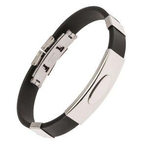 Černý gumový náramek, lesklá ocelová známka s elipsou