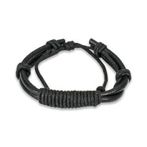 Černý kožený náramek - oblé převázané šňůrky
