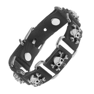 Černý náramek ze syntetické kůže a oceli, lebky s překříženými kostmi