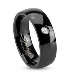 Černý ocelový prsten, lesklá zaoblená ramena, čirý zirkonek, 6 mm - Velikost: 60