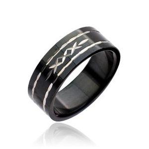 Černý prsten z oceli - vyryté křížky - Velikost: 57