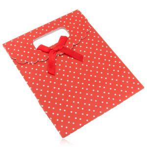 Červená dárková taštička z papíru s bílými puntíky, červená mašle
