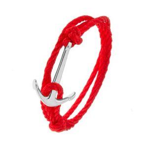 Červený šňůrkový náramek na obtočení okolo ruky, kotva stříbrné barvy