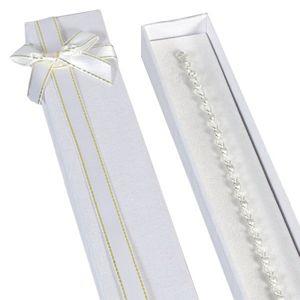 Dárková krabička podlouhlá - bílá, zlato-bílá stuha