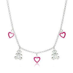 Dětský stříbrný 925 náhrdelník - kontury srdíček s růžovou glazurou a lesklí medvídci