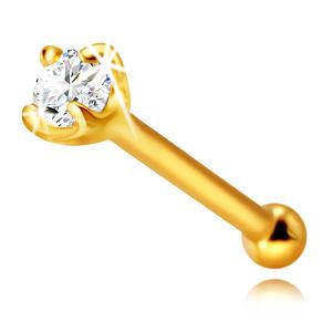 Diamantový piercing do nosu z 585 žlutého zlata, rovný - třpytivý briliant v kotlíku, 1,75 mm