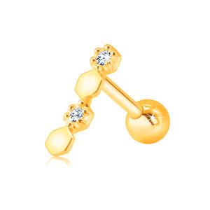 Diamantový piercing do ucha ve žlutém 9K zlatě - šestiúhelníky, čiré brilianty v objímce