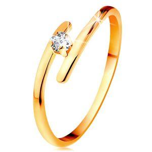 Diamantový prsten ve žlutém 14K zlatě - zářivý čirý briliant, tenká prodloužená ramena - Velikost: 52