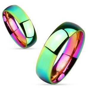 Duhový prsten z oceli 316L, lesklý hladký povrch, 6 mm - Velikost: 55