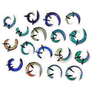 Expander do ucha - vícebarevná skleněná spirálka, gumičky - Tloušťka : 6,5 mm, Barva piercing: Oranžová - Žlutá - Tyrkysová - Fialová