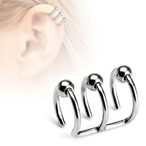Fake piercing do ucha z nerezavějící oceli - trojitý kroužek s kuličkami