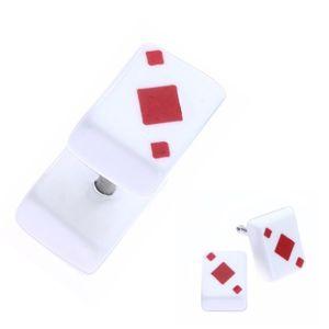 Falešný akrylový plug do ucha - hrací karta, červené kára