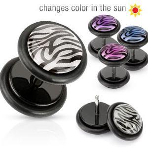 Falešný piercing do ucha - kolečko s tygřím vzorem - Barva piercing: Fialová