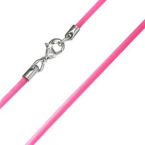 Hladká gumová šňůrka na krk v růžovém provedení