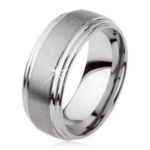 Hladký wolframový prsten, jemně vypouklý, matný povrch, stříbrná barva - Velikost: 57