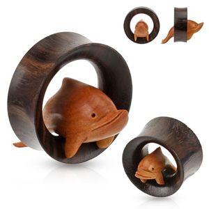 Hnědý dřevěný tunel do ucha, delfín proskakující obručí - Tloušťka : 30 mm