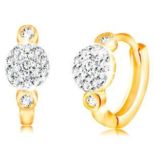Kloubové náušnice ze 14K zlata - kroužky s kvítkem z čirých zirkonků