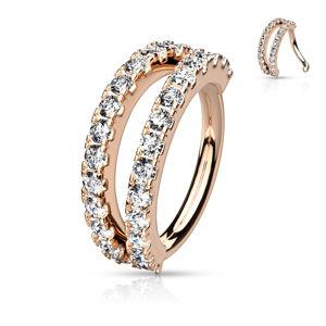 Kovový piercing kruhového tvaru - vsazené čiré zirkony - Barva piercing: Měděná