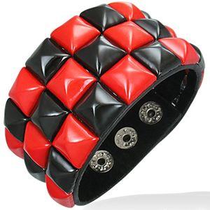 Kožený náramek - červeno-černý šachovnicový vzor