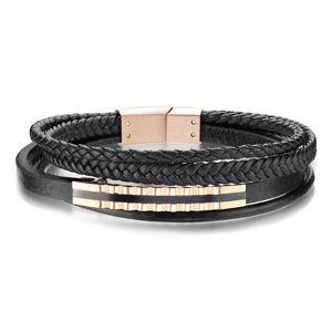 Kožený náramek na ruku - čtyři pruhy, známka s obloučky v měděné barvě a s černým páskem - Délka: 200 mm