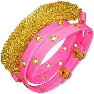 Kožený náramek - růžový pás s kováním, zlaté řetízky