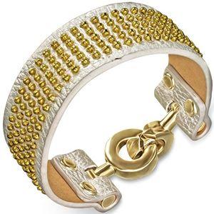Kožený náramek - stříbrný se zlatými kuličkami a kruhovým zapínáním