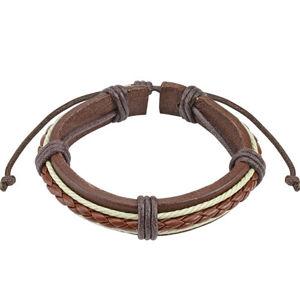 Kožený náramek - tmavě hnědý pás, pletenec karamelové barvy, bílé šňůrky
