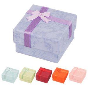 Krabička na náušnice - mramorované pastelové odstíny, s mašličkou - Barva: Oranžová