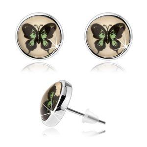 Kruhové kabošon náušnice, vypouklé sklo, zeleno-černý motýl, puzetky
