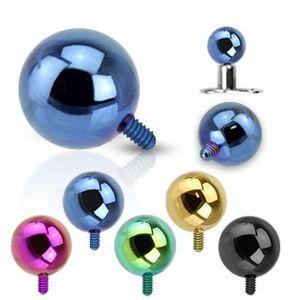 Kulička do implantátu z oceli 316L - anodizovaný povrch, různé barvy, 5 mm - Barva piercing: Zelená
