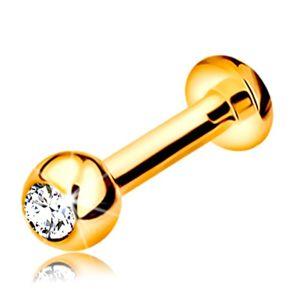 Labret do rtu, brady a nad ret ze zlata 585 - kulička se zirkonem, 10 mm
