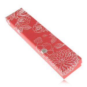 Lesklá červená krabička na náhrdelník, stříbrné květy