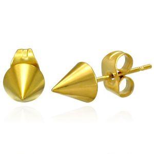 Lesklé náušnice z oceli - ostrý špičatý kužel zlaté barvy, puzetky