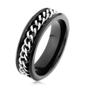 Lesklý černý prsten z oceli 316L, řetízek ve stříbrném odstínu - Velikost: 69