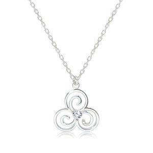 Lesklý náhrdelník ze stříbra 925 - keltský symbol Triskelion s čirým zirkonem