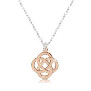 Lesklý náhrdelník ze stříbra 925 - keltský uzel v růžovozlatém barevném odstínu
