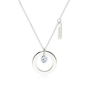"""Lesklý náhrdelník ze stříbra 925 - kontura kruhu s výřezem, známka s nápisem """"forever"""", čirý zirkon"""